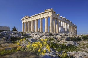 Parthenon temple with flowers on the  Acropolis in Athens, Greece