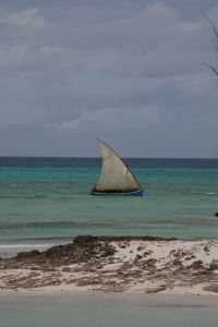 Dhow along the Mozambican coast.