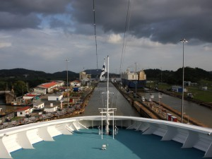 View of Panama Canal from a passenger ship.  Partial and full transit tours are available to Panama City visitors.