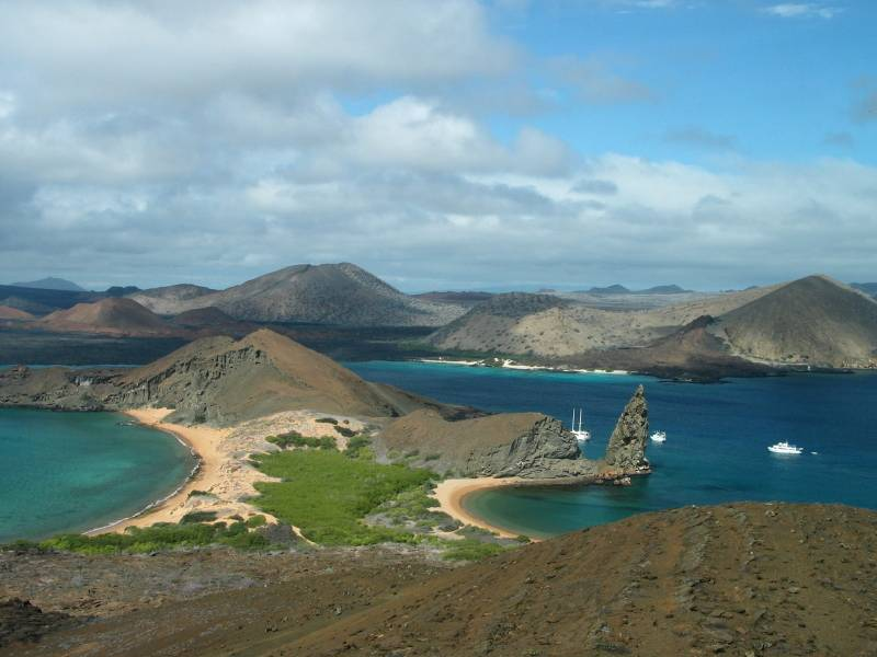 View of Pinnacle Rock from Bartolome Island