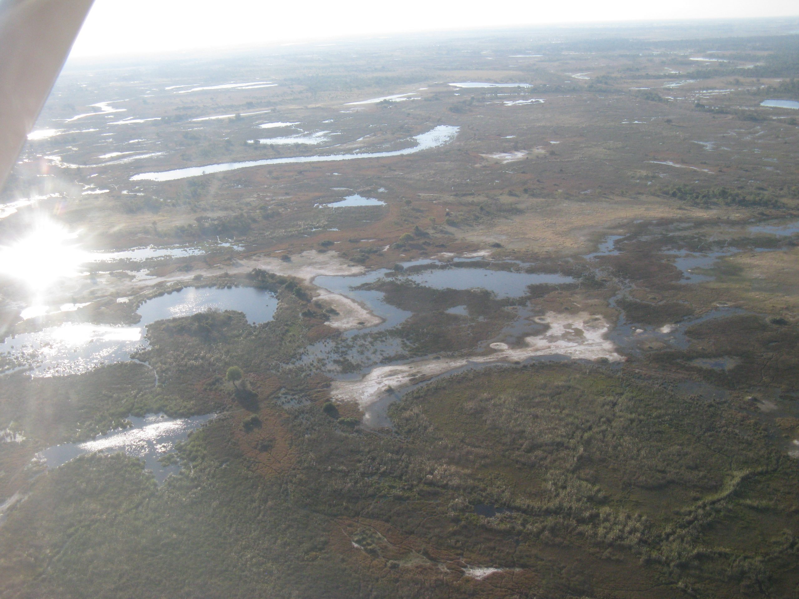 View of Okavango Delta from plane
