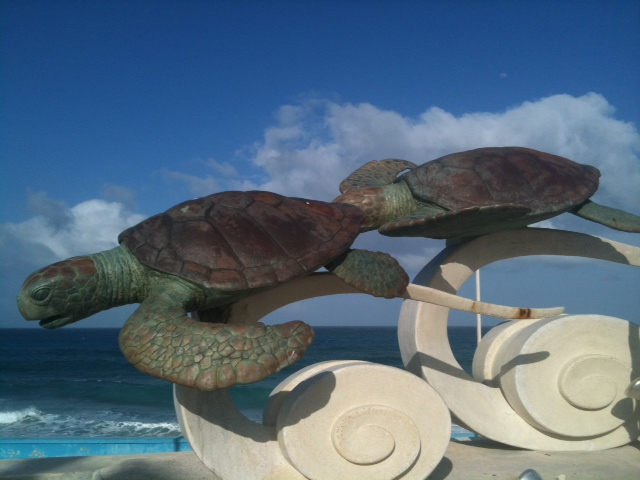 Sculptures along Isla Mujeres Malecon.