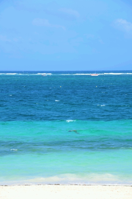 Waves break offshore as they meet the reef.