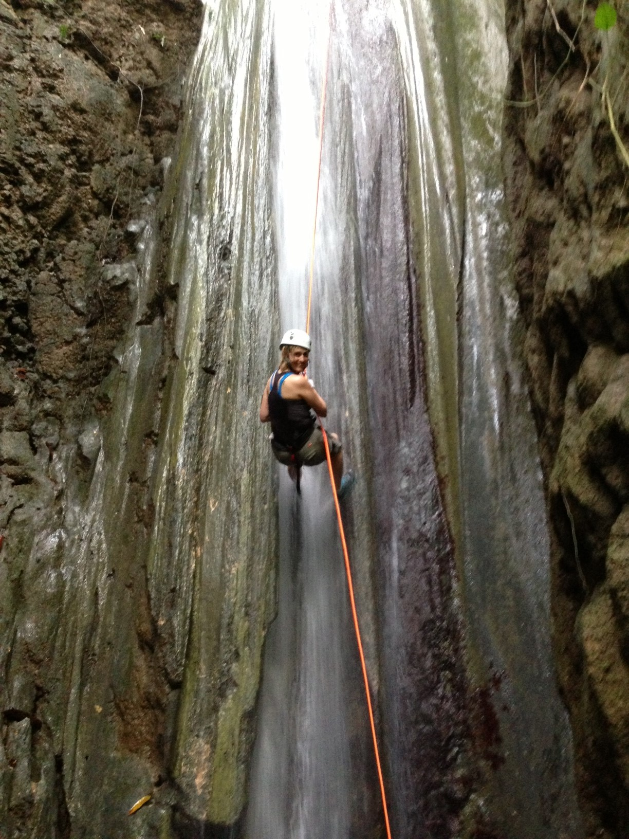 Waterfall rappelling at El Remanso (4th waterfall).