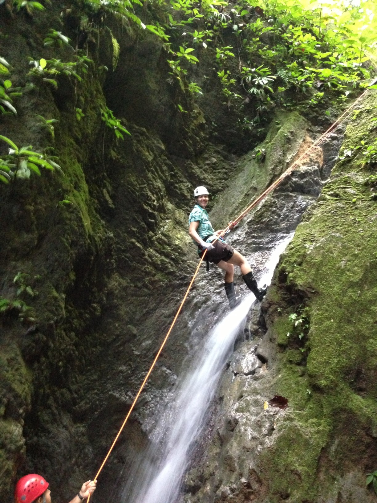 Waterfall rappelling at El Remanso Lodge (2nd waterfall).